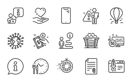 Line icons set. Included icon as Coal trolley, Start business, Payment method signs. Smartphone, Food time, Search employee symbols. Hold heart, Attachment, Coronavirus. 5g internet. Vector