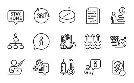 Science icons set. Included icon as Medical tablet, Vaccination appointment, Management signs. Document signature, Stay home, Evaporation symbols. Recovery hdd, Quick tips, Thermometer. Vector