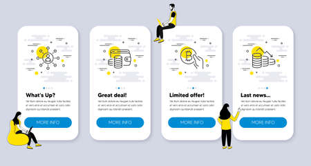 Vector Set of Finance icons related to Bitcoin pay, Networking and Wallet money icons. UI phone app screens with people. Money loss line symbols. Vector