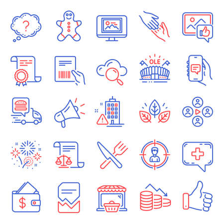 Business icons set. Included icon as Like hand, Gingerbread man, Helping hand signs. Certificate, Photo thumbnail, Online market symbols. Building warning, Sports arena, Money loss. Food. Vector