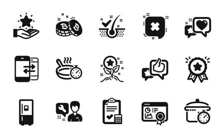 Vector set of Like, Repairman and Refrigerator icons simple set. Accounting checklist, Heart and Seo certificate icons. Reject, Phone communication and Loyalty program signs. Vector