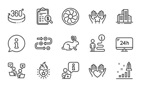 Business icons set. Included icon as Development plan, 24h service, 360 degrees signs. Accounting report, Animal tested, Fan engine symbols. Online voting, Hold heart, Heart flame. Ranking. Vector