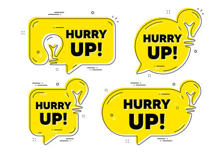 Hurry up sale. Idea yellow chat bubbles. Special offer sign. Advertising discounts symbol. Hurry up sale chat message banners. Idea lightbulb balloons. Vector 矢量图像