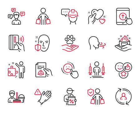 Vector Set of People icons related to Contactless payment, Cleaning service and Strategy icons. User info, Coronavirus injections and Face protection signs. Skin care, Use gloves and Buyer. Vector 矢量图像