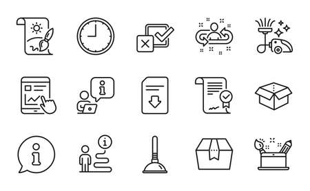 Line icons set. Included icon as Internet report, Vacuum cleaner, Time signs. Approved agreement, Checkbox, Package box symbols. Plunger, Recruitment, Download file. Open box line icons. Vector