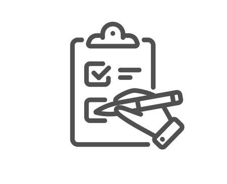 Checklist line icon. Clipboard document sign. Questioning survey symbol. Quality design element. Linear style checklist icon. Editable stroke. Vector 矢量图像