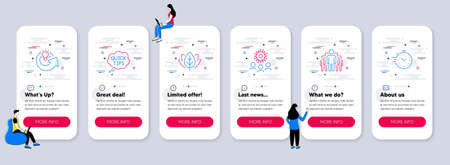 Set of Science icons, such as Group, Organic tested, Coronavirus icons. UI phone app screens with teamwork. Share idea, Quick tips, Timer line symbols. Managers, Bio ingredients, Who. Solution. Vector 矢量图像