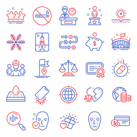 Business icons set. Included icon as Snowflake, Stars, Face biometrics signs. Budget, Seo internet, No smoking symbols. Payment method, Arena, Engineering team. Survey progress, Flag. Vector 矢量图像