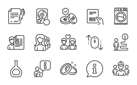 Business icons set. Included icon as Wedding rings, Savings insurance, Recovery hdd signs. Couple love, Washing machine, Cognac bottle symbols. Engineering team, Parcel invoice line icons. Vector