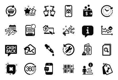 Vector Set of Business icons related to Recovery ssd, Seo analysis and Select flight icons. Recovery tool, Augmented reality and Chemistry pipette signs. Stars, Money transfer and Pet tags. Vector