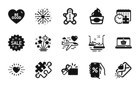 Vector set of Fireworks stars, Puzzle and Puzzle time icons simple set. Online shopping, Fireworks explosion and Heart icons. Bumper cars, Honeymoon travel and Love letter signs. Vector