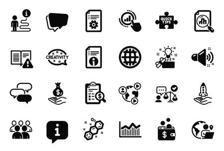 Vector Set of Education icons related to Money diagram, Loud sound and Technical documentation icons. Group, Video conference and Chemical formula signs. Creative idea, Analytics graph. Vector