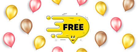Free transition bubble. Promotion ad banner with 3d balloons. Cartoon face character chat message. Yellow flow banner icon. Isolated party balloons background. Free bubble label. Vector