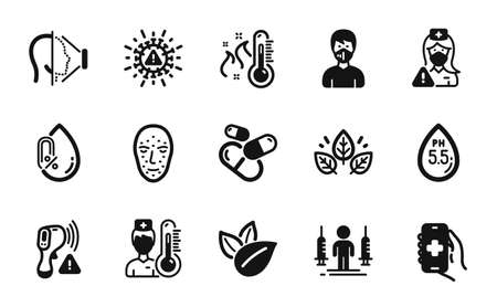 Vector set of Nurse, High thermometer and Coronavirus injections icons simple set. No alcohol, Electronic thermometer and Medical mask icons. Nurse simple web symbol. Vector