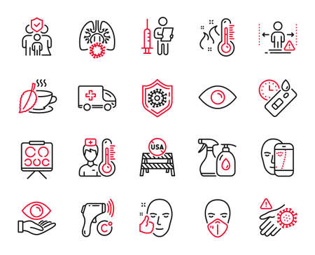 Vector Set of Medical icons related to Ambulance emergency, Medical mask and Wash hand icons. Mint tea, Covid test and Electronic thermometer signs. Eye, Vaccination announcement. Vector