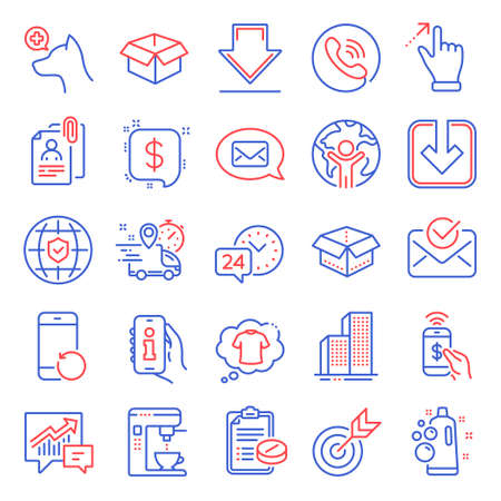 Business icons set. Included icon as Load document, Downloading, Target signs. Global insurance, Recovery phone, Veterinary clinic symbols. Info app, Interview documents, Call center. Vector