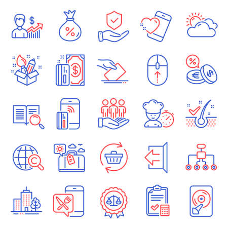 Business icons set. Included icon as Skyscraper buildings, Insurance hand, Heart signs. Contactless payment, Chef, Food app symbols. Anti-dandruff flakes, Search text, Sunny weather. Loan. Vector