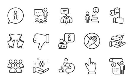 People icons set. Included icon as Delegate work, Freezing, Group signs. Dont touch, Move gesture, Lightweight symbols. Manual doc, Leadership, Click hand. People chatting, Dislike hand. Vector 矢量图像