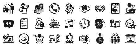 Set of Business icons, such as Discounts app, Shopping, Ice creams icons. Interview, Market seller, Washing machine signs. Group people, Call center, Hold heart. Online chemistry, Coins. Vector