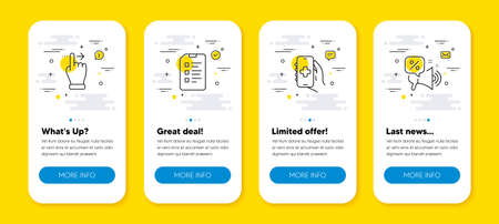 Vector set of Checklist, Touchscreen gesture and Health app line icons set. UI phone app screens with line icons. Discounts offer icon. Data list, Slide right, Healthcare phone. Vector 矢量图像