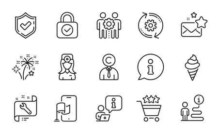 Business icons set. Included icon as Copyrighter, Ice cream, Confirmed signs. Location app, Favorite mail, Spanner symbols. Employees teamwork, Cogwheel, Fireworks. Shopping rating. Vector