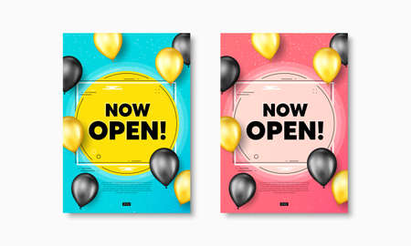 Now open text. Flyer posters with realistic balloons cover. Promotion new business sign. Welcome advertising symbol. Now open text frame poster banners. Balloons cover. Vector 矢量图像