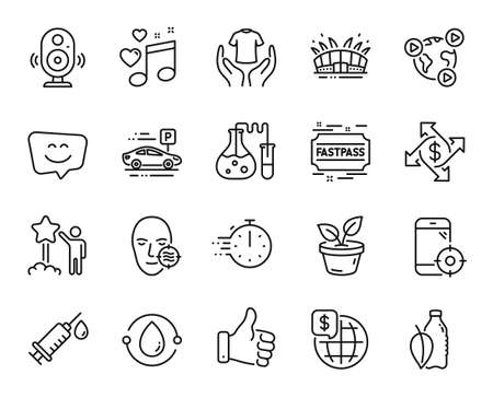 Vector set of Like hand, Payment exchange and Love music line icons set. Leaves, Problem skin and Hold t-shirt icons. Chemistry lab, World money and Smile face signs. Like hand web symbol. Vector