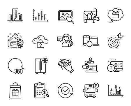 Vector set of Clapping hands, Survey results and Target line icons set. Online quiz, Diagram graph and Buildings icons. Destination flag, Teamwork and Bus parking signs. Vector 矢量图像