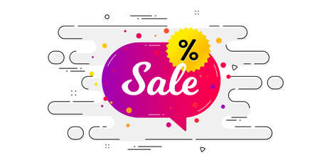 Sale banner. Geometric ad banner on flow pattern. Discount sticker shape. Coupon chat bubble icon. Transition pattern cover. Sale sticker label. Vector 矢量图像