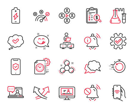 Vector Set of Technology icons related to Work home, Chemistry lab and Accounting report icons. Yummy smile, Service and Intersection arrows signs. Chat message, Mute sound and Fast recovery. Vector 矢量图像