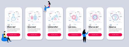 Set of Science icons, such as Coronavirus vaccine, Gluten free, Vaccine attention icons. UI phone app screens with teamwork. Coronavirus, Chemistry lab, Question mark line symbols. Vector 矢量图像
