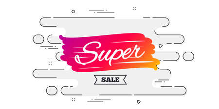 Super sale banner. Geometric ad banner on flow pattern. Discount banner shape. Coupon bubble icon. Transition pattern cover. Super sale label. Vector