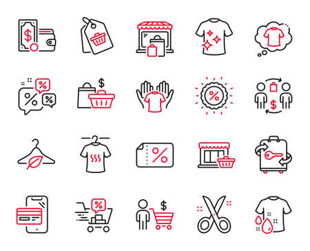 Vector Set of Fashion icons related to Discounts chat, Clean t-shirt and Buyer icons. Discounts cart, Marketplace and Online shopping signs. Sale bags, Slow fashion and Market. T-shirt. Vector