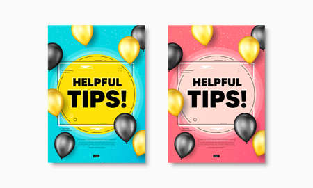 Helpful tips text. Flyer posters with realistic balloons cover. Education faq sign. Help assistance symbol. Helpful tips text frame poster banners. Balloons cover. Vector