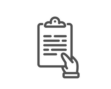 Clipboard document line icon. Agreement file sign. Survey record symbol. Quality design element. Linear style clipboard icon. Editable stroke. Vector