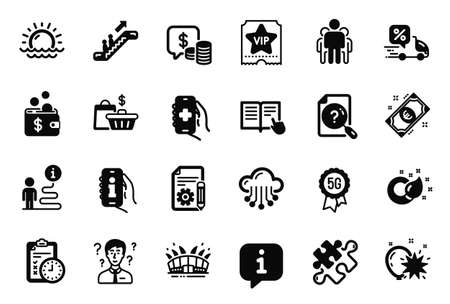 Vector Set of Business icons related to Health app, Escalator and Sunset icons. Balloon dart, Sale bags and Arena stadium signs. Support consultant, Paint brush and Info app. Vip ticket. Vector