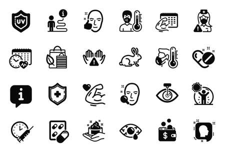 Vector Set of Healthcare icons related to Cardio calendar, Strong arm and Skin care icons. Animal tested, Capsule pill and Face search signs. Sick man, Clean hands and Vaccination schedule. Vector