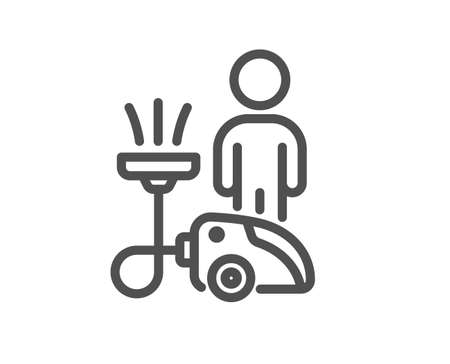 Cleaning line icon. Household service sign. Professional vacuum cleaner symbol. Quality design element. Linear style cleaning icon. Editable stroke. Vector