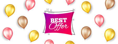 Best offer banner. Promotion ad banner with 3d balloons. Discount sticker shape. Sale coupon bubble icon. Isolated party balloons background. Best offer label. Vector