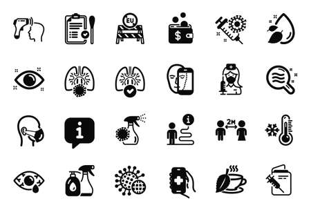 Vector Set of Medical icons related to Lungs, Health app and Coronavirus icons. Coronavirus vaccine, Electronic thermometer and Cleaning liquids signs. Nasal test, Water drop and Vaccination. Vector