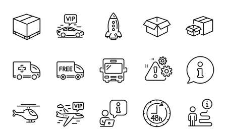 Transportation icons set. Included icon as Opened box, Vip transfer, Rocket signs. Vip flight, Bus, 48 hours symbols. Warning, Helicopter, Delivery box. Packing boxes, Free delivery. Vector 矢量图像