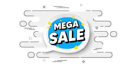 Mega sale bubble. Geometric ad banner on flow pattern. Discount banner shape. Coupon sticker icon. Transition pattern cover. Mega sale label. Vector