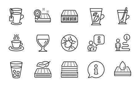 Interiors icons set. Included icon as Ice tea, Wine glass, Mattress signs. Bed bugs, Mint leaves, Waterproof mattress symbols. Tea mug line icons. Info center line icon. Ice tea sign. Vector