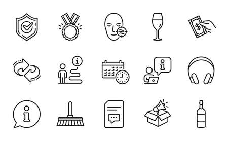 Line icons set. Included icon as Wineglass, Brandy bottle, Cleaning mop signs. Honor, Refresh, Calendar symbols. Megaphone box, Problem skin, Comments. Headphones, Confirmed, Pay money. Vector 矢量图像