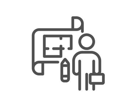 Plan line icon. Architect project sign. Architecture design symbol. Quality design element. Linear style plan icon. Editable stroke. Vector