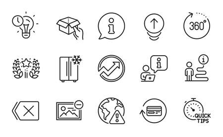 Technology icons set. Included icon as Quick tips, Time management, Ranking signs. Hold box, 360 degrees, Remove symbols. Audit, Refrigerator, Remove image. Internet warning, Swipe up. Vector 矢量图像