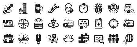 Set of Business icons, such as Approved, Prescription drugs, Organic tested icons. Full rotation, Scroll down, Puzzle signs. Bitcoin system, Problem skin, Search photo. Escalator, Target. Vector