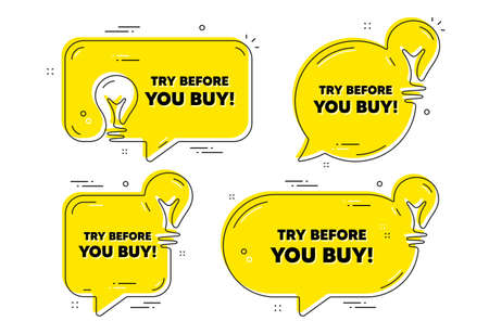Try before you buy text. Idea yellow chat bubbles. Special offer price sign. Advertising discounts symbol. Try before you buy chat message banners. Idea lightbulb balloons. Vector