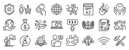 Set of Business icons, such as Save planet, Vocabulary, Reject protection icons. Safe time, Leadership, Person info signs. Hammer tool, Wifi, Employee benefits. Capsule pill, Copywriting. Vector