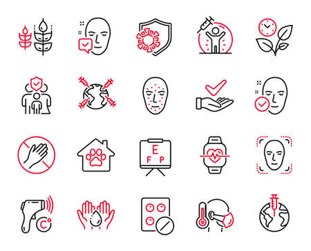 Vector Set of Healthcare icons related to Face biometrics, Pandemic vaccine and Face detection icons. Sick man, Dermatologically tested and Cardio training signs. Family insurance, Leaves. Vector